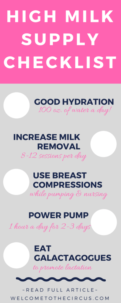 Use these tried and tested tips to increase your milk supply naturally in a day! Good hydration, increasing milk removal, using breast compressions, power pumping, and galactagogues.