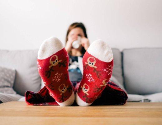 woman wearing scented christmas socks