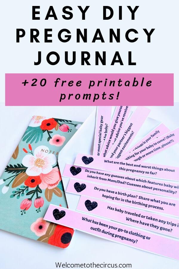 Easy DIY Pregnancy Journal Tutorial plus Free Printable Pregnancy Journal Prompts