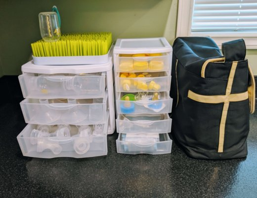 organized pumping supplies on kitchen counter