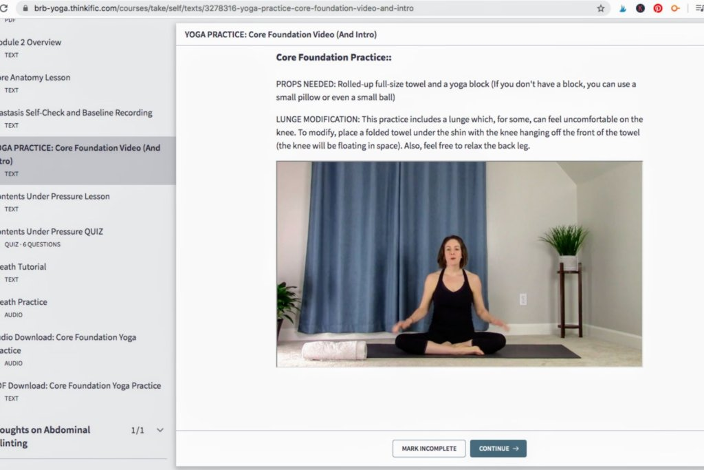 screenshot taken from the heal your core with yoga course online for a brb yoga review