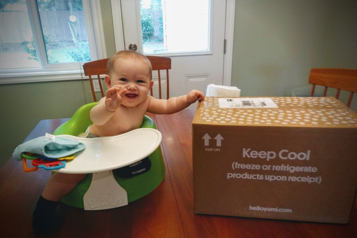 Baby sits by box of yumi brand baby food for a yumi review