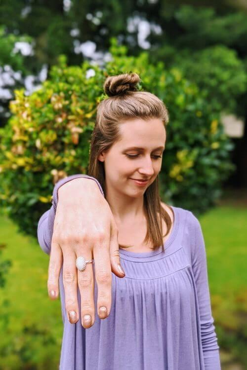 jenny hartley modeling her diy breast milk ring