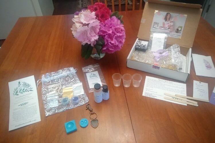 breast milk ring diy supplies on table